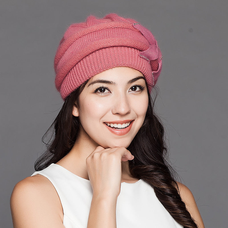 Costbuys  Women Knitted Hats Winter Thicken Double Layer Elegant Casual Rabbit Hair Blend Women's Hat Female Beanies - pink
