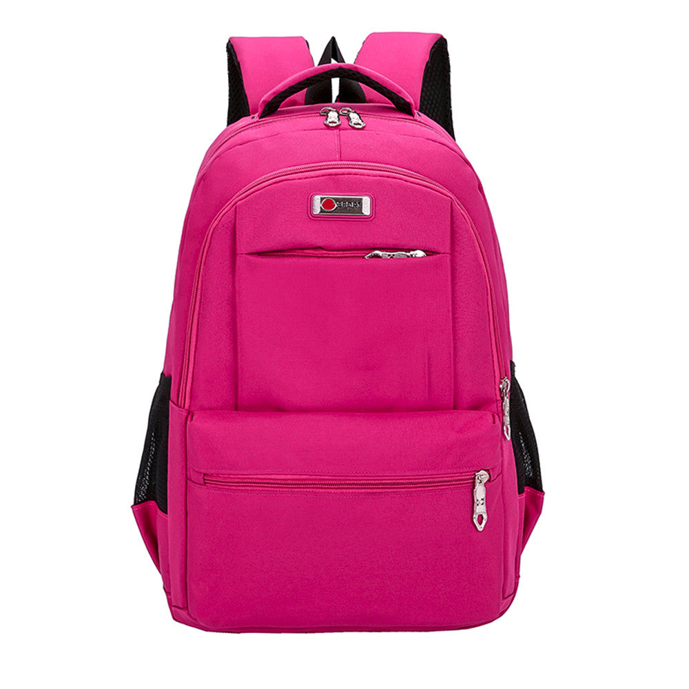 Costbuys  Children Backpack Teenage Girls Boys School Backpack Travel Solid Students Bags High Quality - Hot Pink / China