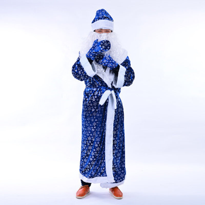 christmas santa claus costume blue santa claus christmas costume for man adult fancy dress full set new year christmas suit boys