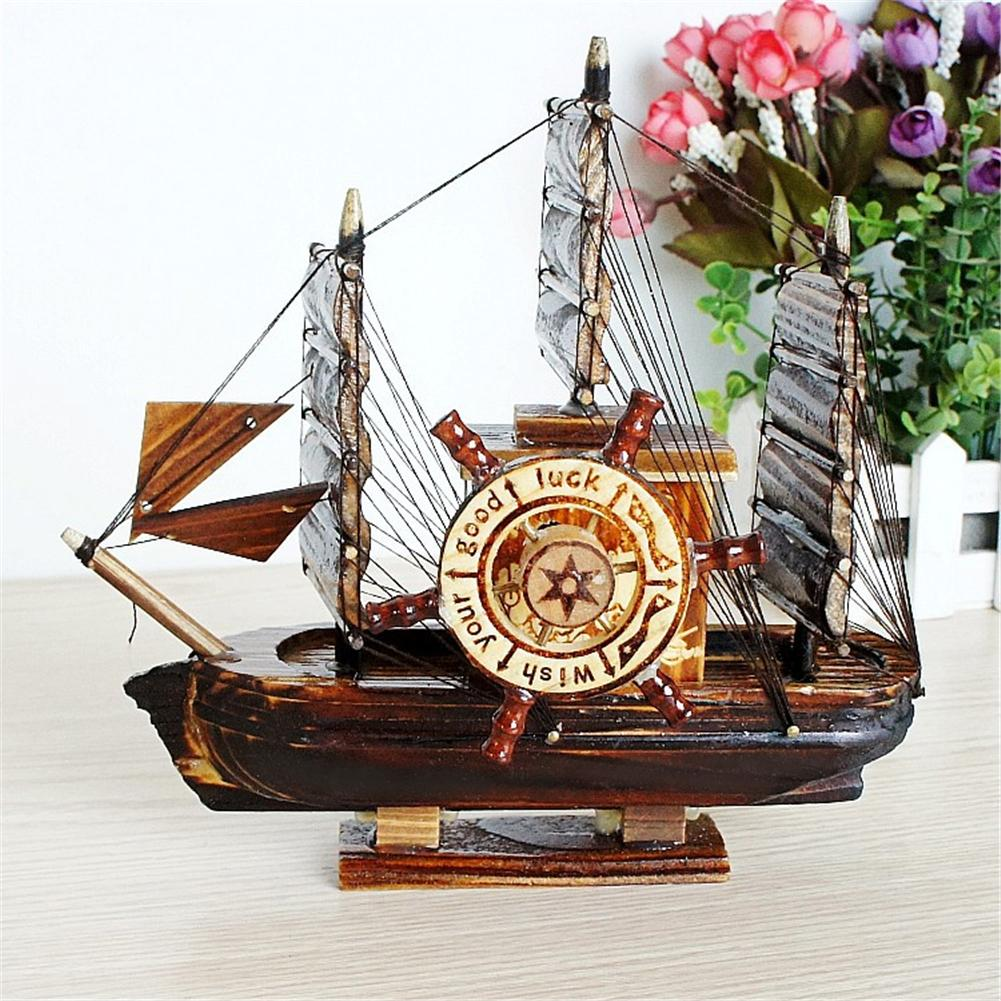 Costbuys  Classic Retro Personalized Elegant Wooden Sailboat Model Music Box Music Box Children's Clockwork Toy Gift Dedicated T