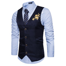 15d12e0403a Classic V Neck Mes Suit Vest Gilet Homme Fashion Embroidery Men Waistcoat  Chaleco Hombre Casual Business