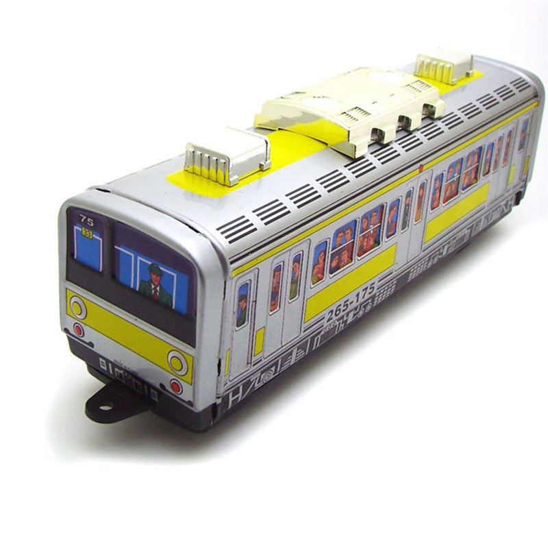 Costbuys  Classic Vintage Clockwork Subway Train Wind up Reminiscence Children Kids Tin Toys With Key Fun Toy Gift For Children
