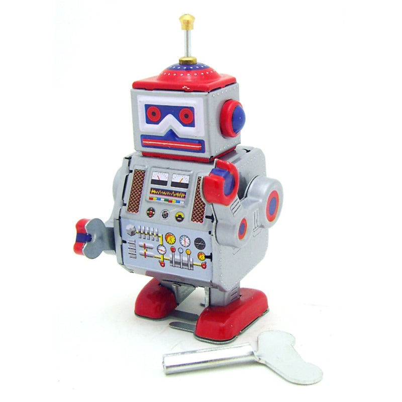 Costbuys  Classic Vintage Clockwork Wind Up Robot Kids Children Reminiscence Tin Toys With Key Fun Toys Gift For Children