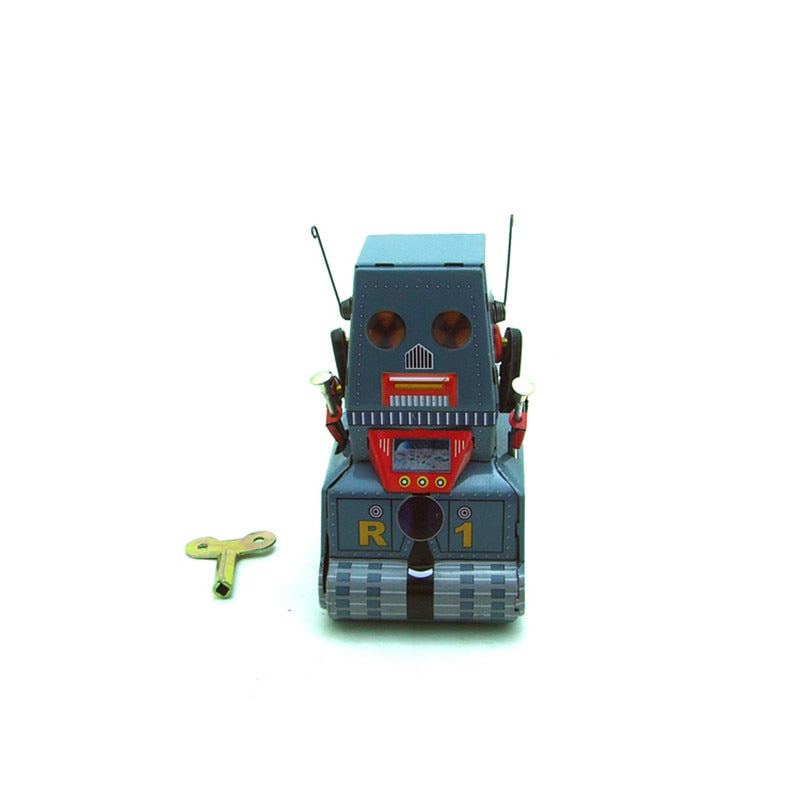 Costbuys  Classic Vintage Clockwork Wind Up Tank Robot Adult Collection Children Tin Toys With Key Fun Toy Gift For Children