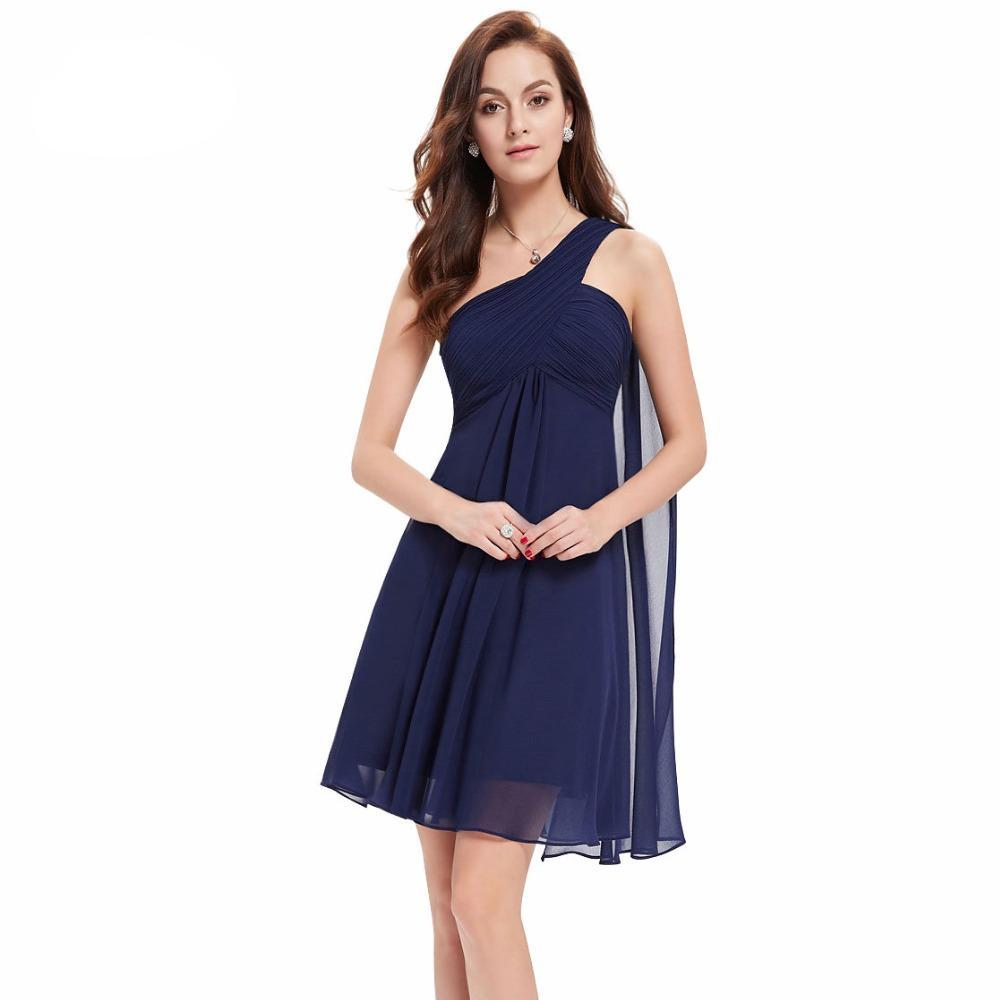 Cocktail Short Dresses Sleeveless A-line One-shoulder Chiffon  Party Dresses for Women