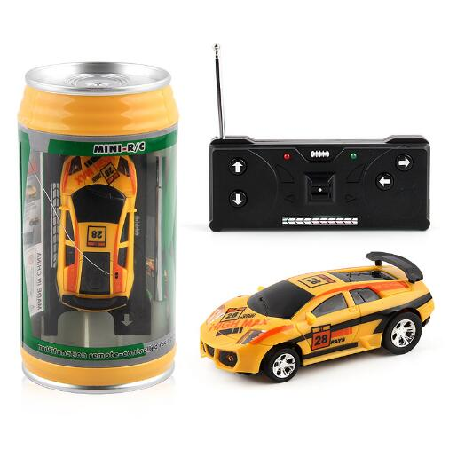 Costbuys  Coke Can Mini RC Car Radio Remote Control Micro Racing Car 4 Frequencies Toy For Children 8 Colors - yellow