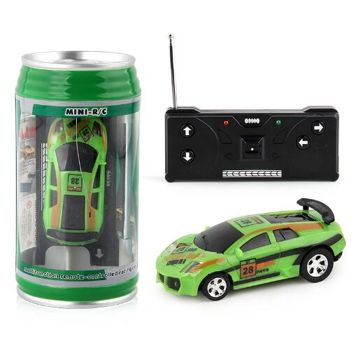 Costbuys  Coke Can Mini RC Car Radio Remote Control Micro Racing Car 4 Frequencies Toy For Children 8 Colors - green