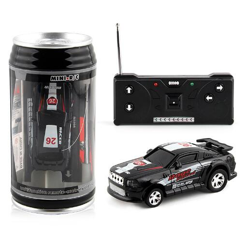 Costbuys  Coke Can Mini RC Car Radio Remote Control Micro Racing Car 4 Frequencies Toy For Children 8 Colors - black