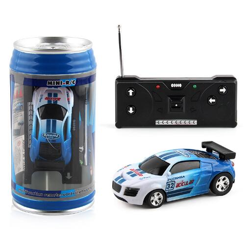 Costbuys  Coke Can Mini RC Car Radio Remote Control Micro Racing Car 4 Frequencies Toy For Children 8 Colors - blue