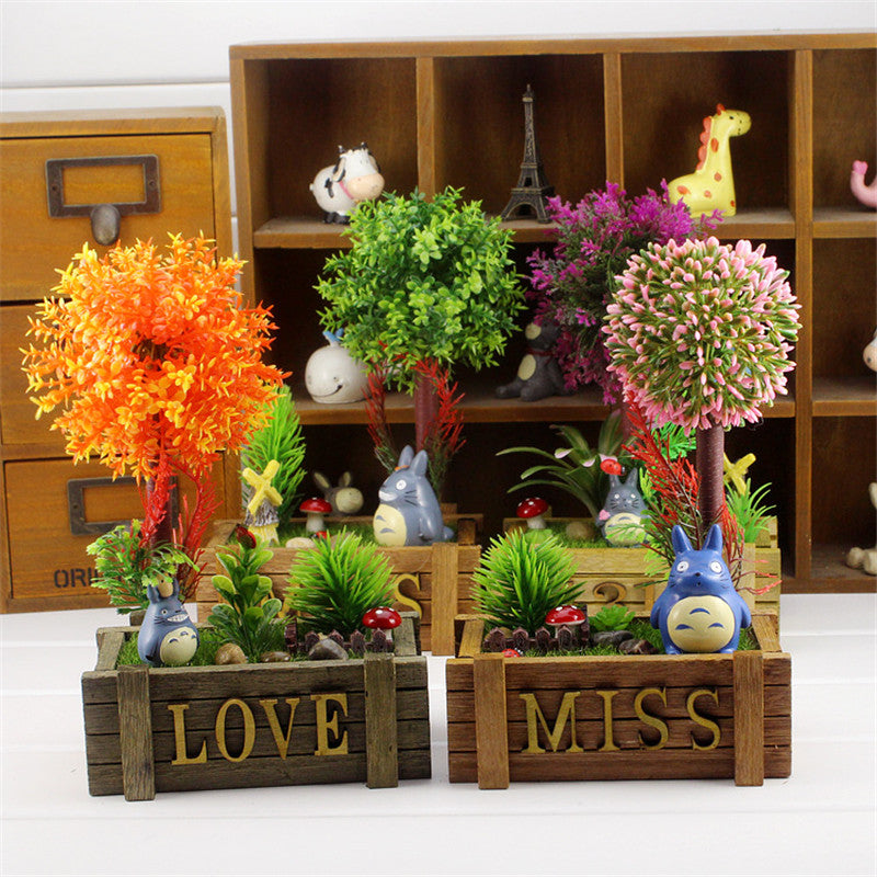 Costbuys  Colorful Microlandschaft Artificial Flower Wood Craft Creative Totoro Artificial Plant Micro Plant Home Decoration Min