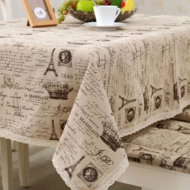 Costbuys  Cotton Linen Table Cloth Lace Tower Crown Printed Table Cover Vintage Tablecloth Home Hotel Party Table Decoration Tex