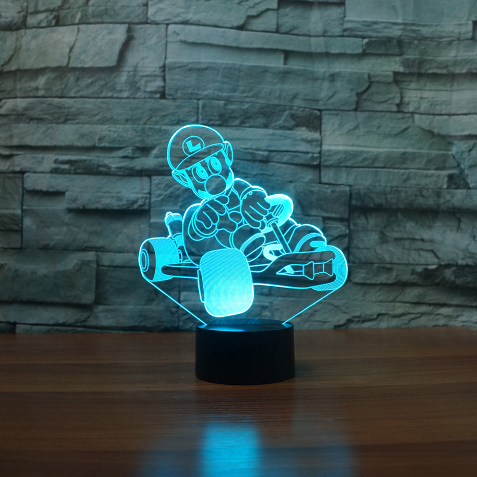 Costbuys  Creative Dog Racing Car 3D Lamp LED USB 3D Night Lights 7 Colors Remote Touch Switch 3D Desk Table Lamp Indoor Atmosph