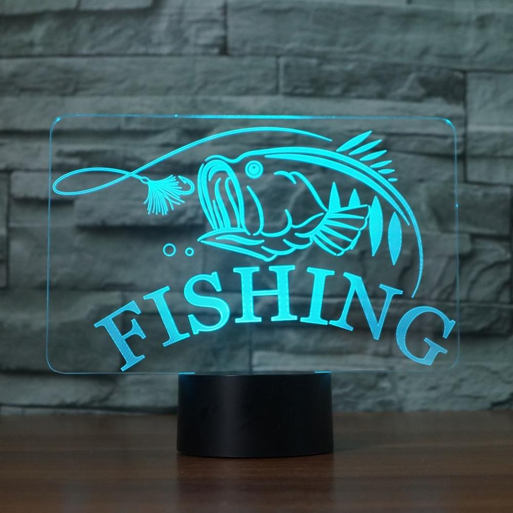 Costbuys  Creative Fishing 3D Lamp USB led night light Remote Switch 7 Color Change Indoor Lamp Hook Carp Fish Desk Lamp For Toy