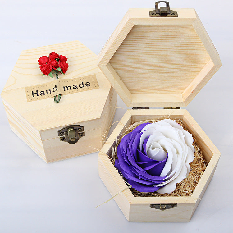 Costbuys  Creative Heart Wooden Box Soap Flower Furnishing Articles Home Decoration Crafts Decor Figurines Miniatures Valentine'