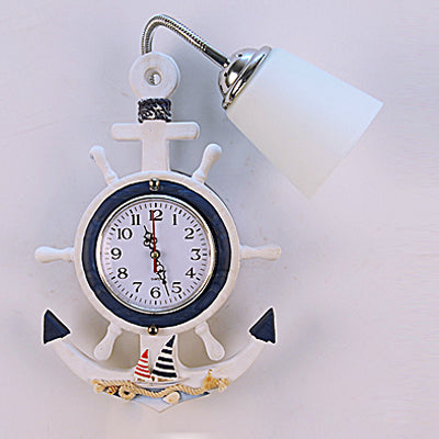 Costbuys  Creative Mediterranean Sea Style Clock Frosted Glass Shade Wall Lamp for Children Room Bedroom Wall Lighting Bedside W