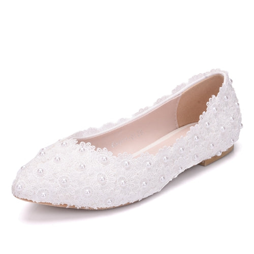Costbuys  White Lace Wedding Shoes Flat Heels Pointed Toe Plus Size Ballet Flats Women Bridal Shoes - white / 34