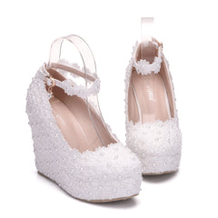White Wedges Wedding Pumps Sweet White Flower Lace Pearl Platform Pump Shoes Bride Dress High Heels