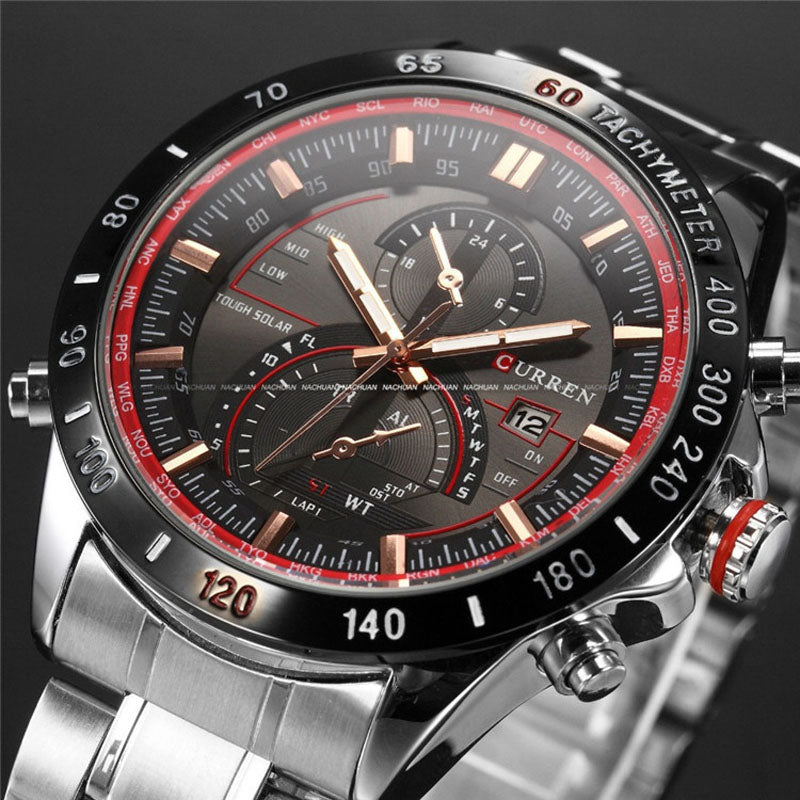 Costbuys  Watch Mens Watches Top Luxury Analog Display Stainless Steel Watches Men Quartz-Watch Male 8149 Montre Homme - red gol