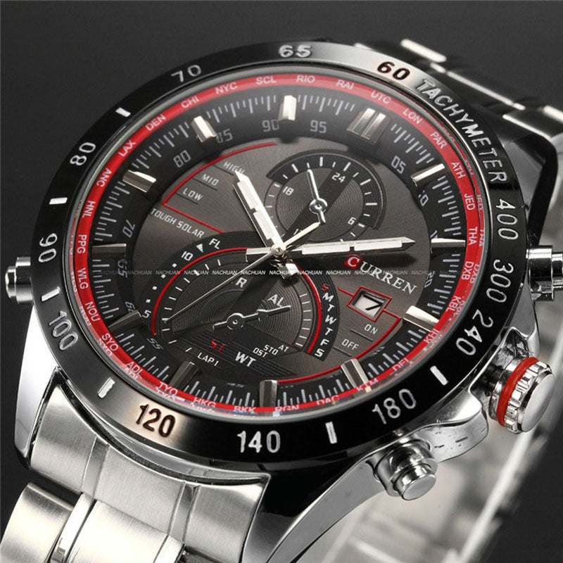 Costbuys  Watch Mens Watches Top Luxury Analog Display Stainless Steel Watches Men Quartz-Watch Male 8149 Montre Homme - red siv