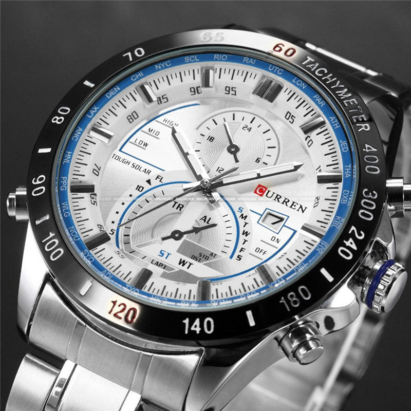 Costbuys  Watch Mens Watches Top Luxury Analog Display Stainless Steel Watches Men Quartz-Watch Male 8149 Montre Homme - blue wh
