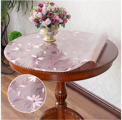 Costbuys  Custom round waterproof transparent table mat Round dining table cloth gold colorTablecloth soft glass oilproof table