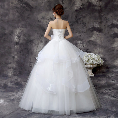 A Line Lace Beach Wedding Dress Scoop Neck White Bridal Gown Tulle ...