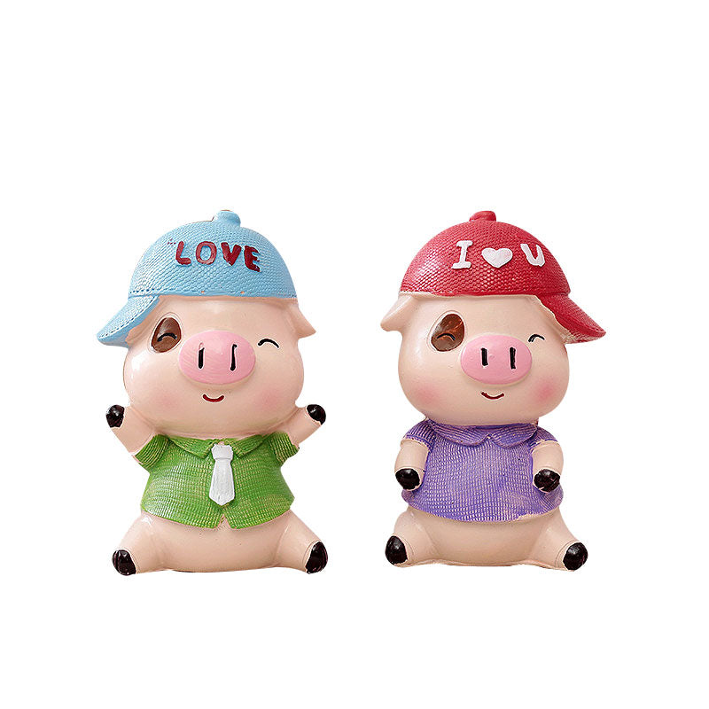 Costbuys  Cute Pig Figurines Home Decoration Mini Animal Doll Ornaments Car Desktop Decoration Crafts Party Gift - 2pcs
