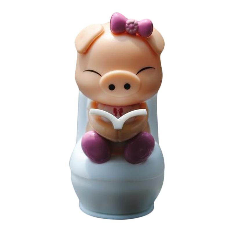 Costbuys  Cute Solar Powered Pig Sitting On Toilet Home Car Ornament Kid Novelty Toy Blue/Purple For Home Office Window Decorati