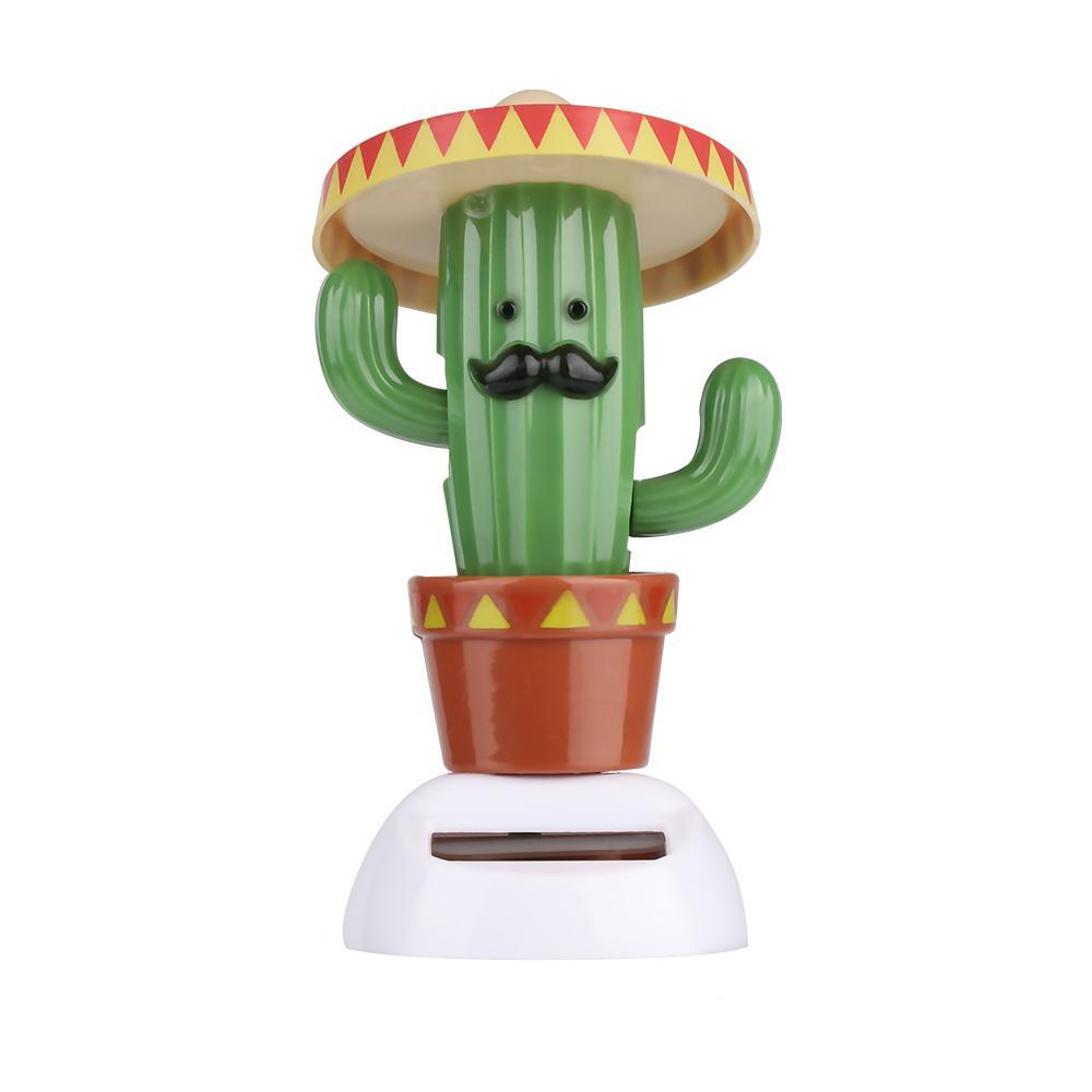 Costbuys  Cute Solar Powered Swing Dancing Toys Cartoon Cactus Style Flip Flap Toy Shaking Moving Home Car Desk Decor Ornament G