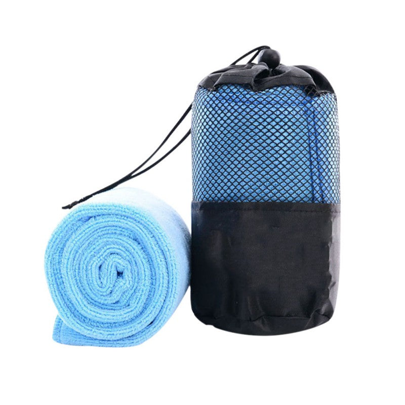 Costbuys  Cute Solid Portable Quick-drying Towel Beauty Microfiber Outdoor Sports Camping Travel Towels With The Bag - Blue / 30