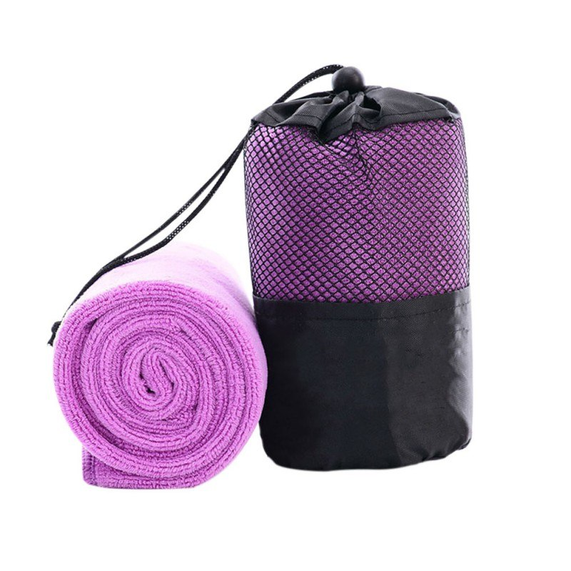 Costbuys  Cute Solid Portable Quick-drying Towel Beauty Microfiber Outdoor Sports Camping Travel Towels With The Bag - Purple /