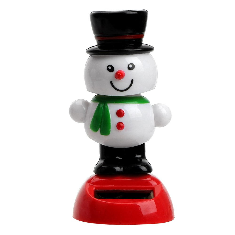 Costbuys  Cute Swinging Bobble Doll Solar Powered Car Ornament Christmas Snowman Dancing Toy Dashboard Decoration Interior Acces