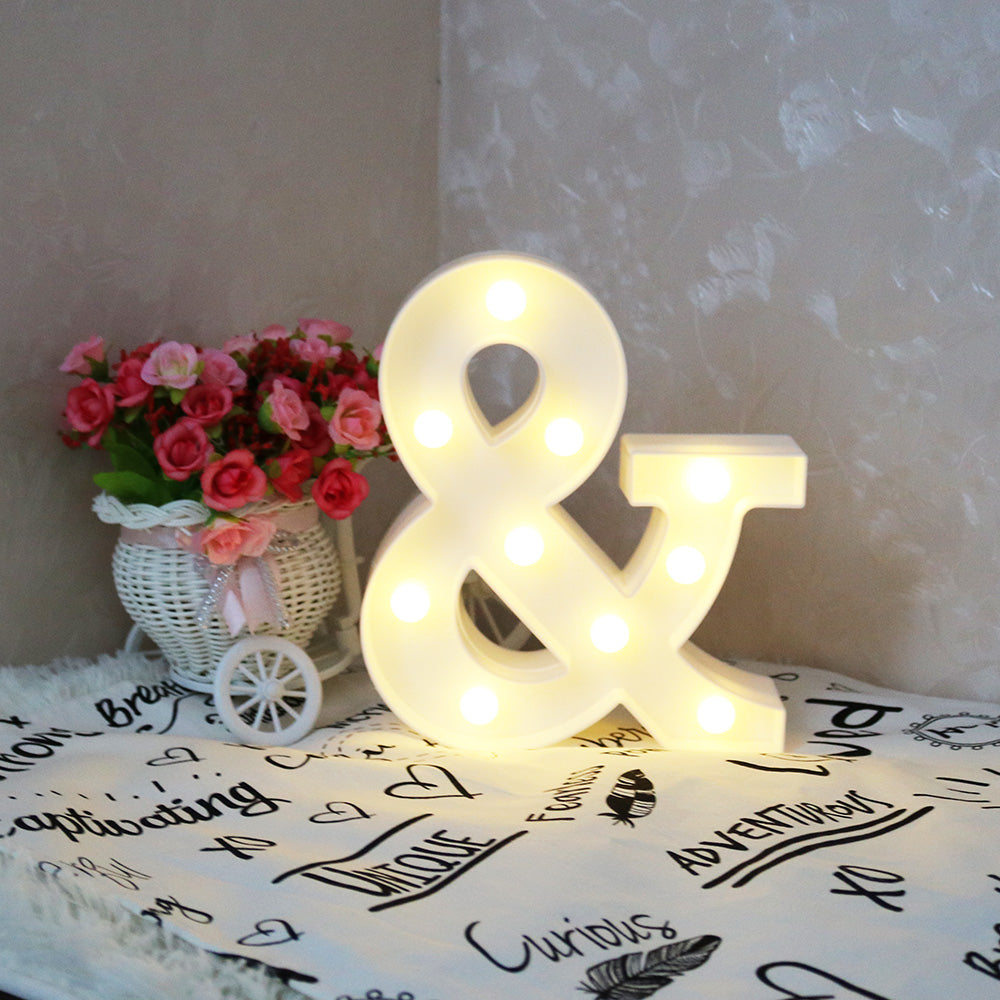 White Letter & LED Marquee Sign Alphabet Light Indoor Wall ...