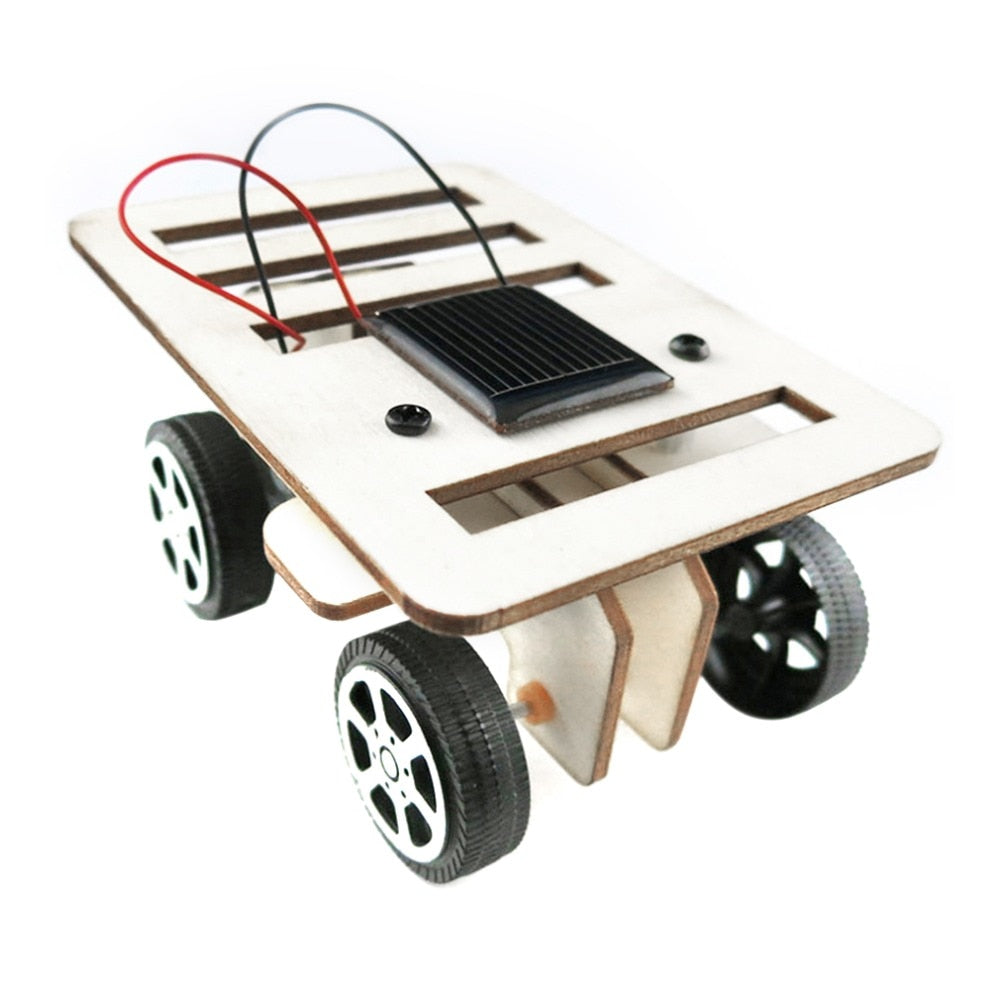 Costbuys  DIY Mini Wooden Car Model Solar Powered Kits for Boys Children Educational Toy Gift 100 * 70 * 50mm
