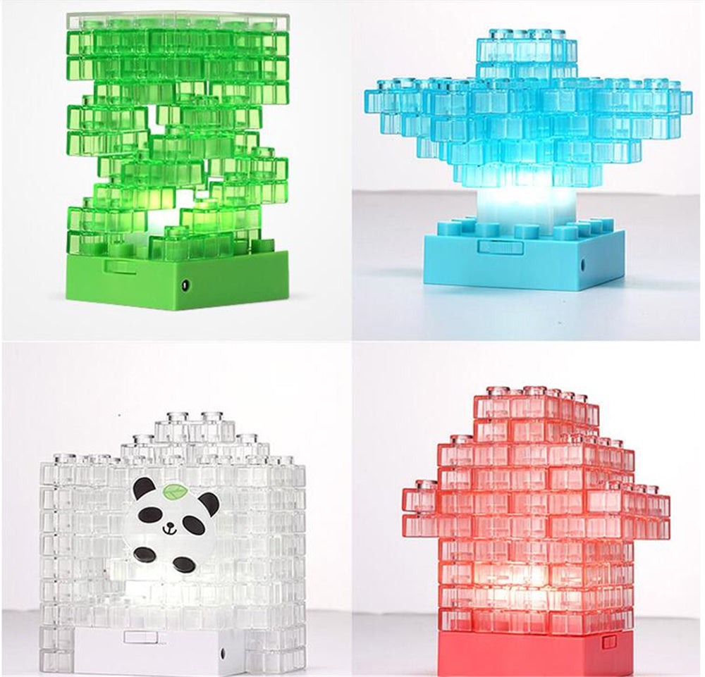 Costbuys  DIY Toy building bricks Tetris Puzzle LED Baby Night Light USB/Battery Gadget Building block Lamp Colorful Pen Pot Toy
