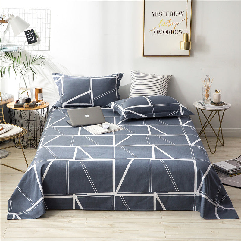 Costbuys  Dark Blue White Solid Rectangle Pattern 3Pc On Sale Home Textile Bed Sheet Set Bedding Fitted Sheet Fitted Sheet Pillo