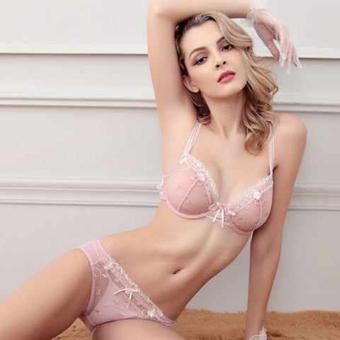Hot Sale Luxury 1/2 Cup Brand Sexy Plus Size Intimates Push Up Bra Set Underwear Floral Embroidery Lace Women Bra Panty