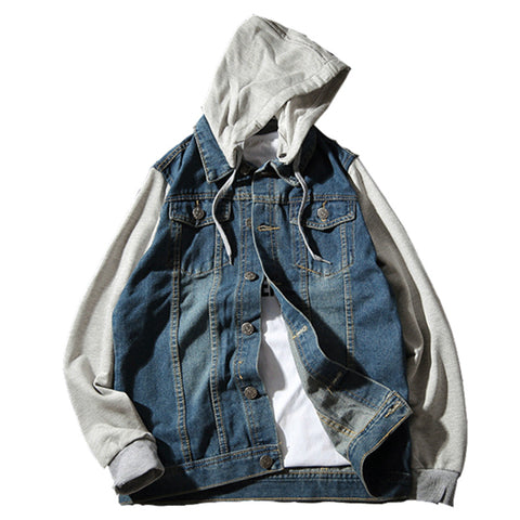 d285e1b51ee Denim Jacket men hooded sportswear Casual fashion slim fit Jeans Jackets  Hoodies Cowboy Male Coat Plus Size 4XL 5XL