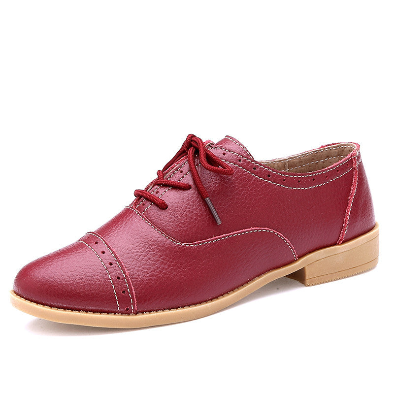 Costbuys  Designer Summer Oxford Genuine Leather Women Flats Brogue Soft White Black Casual Shoes Pointed Toe - wine red / 6