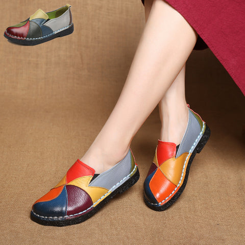 New spring genuine leather flat heel women single shoes women's casual shoes female flats leisure shoes soft mother shoes