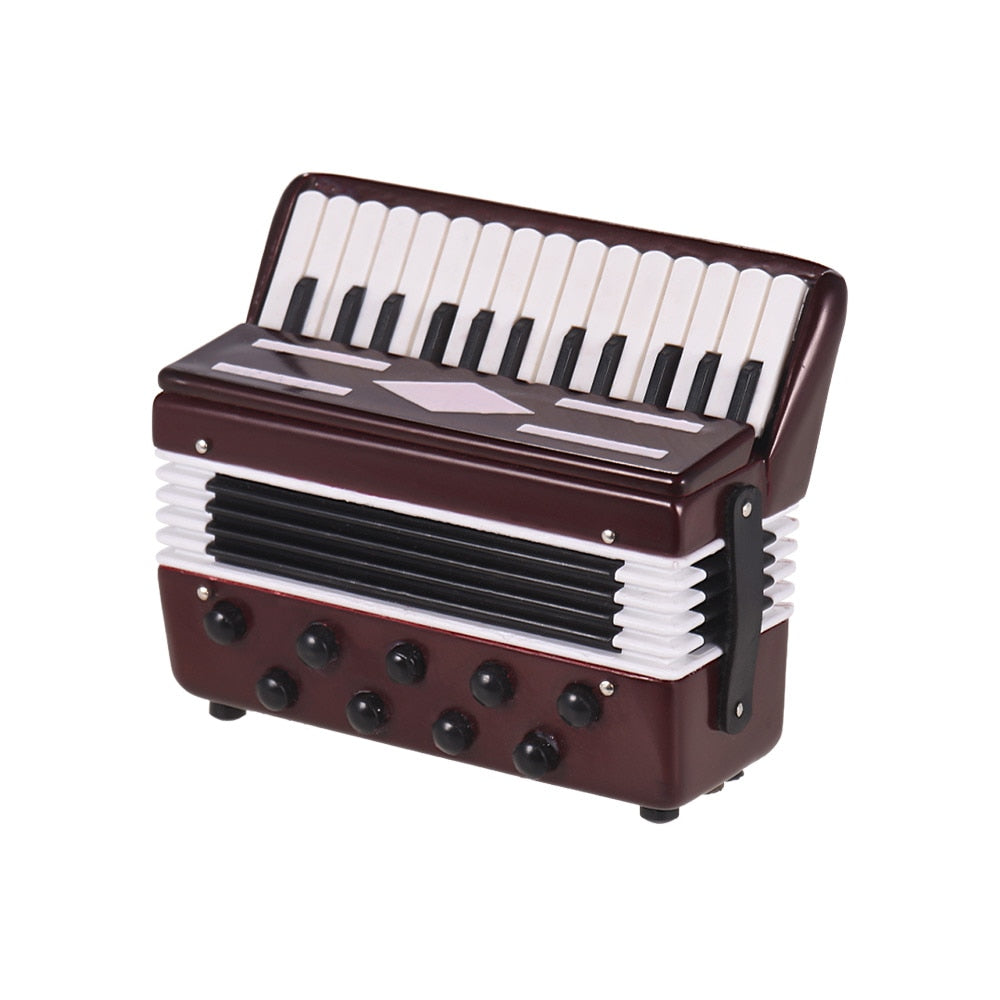 Costbuys  Desktop Accordion Model Musical Instrument Decoration Ornaments with Delicate Box Musical Gift for Students Kids