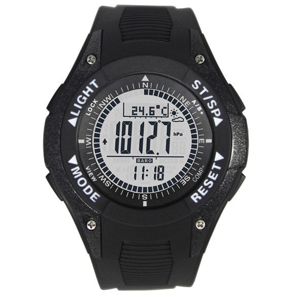 Costbuys  Digital Compass Watch Altimeter Barometer Montre Thermometer Weather Watch Male Outdoor Clock relogio barometro - Blac