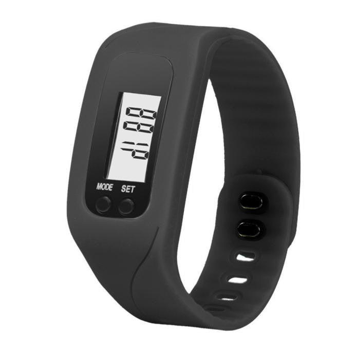 Costbuys  Digital LCD Wrist Watch For Men Women Pedometer Stop Watches Sports Wristband Run Step Distance Calorie Counter - Blac