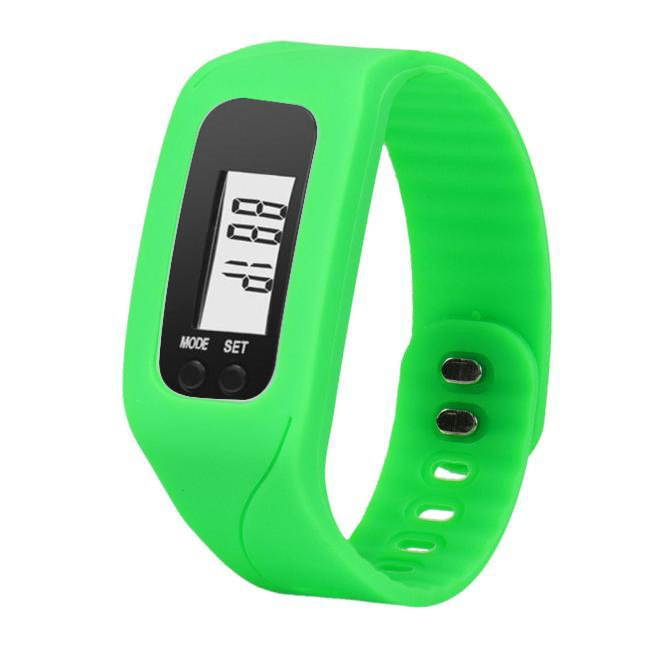 Costbuys  Digital LCD Wrist Watch For Men Women Pedometer Stop Watches Sports Wristband Run Step Distance Calorie Counter - Gree