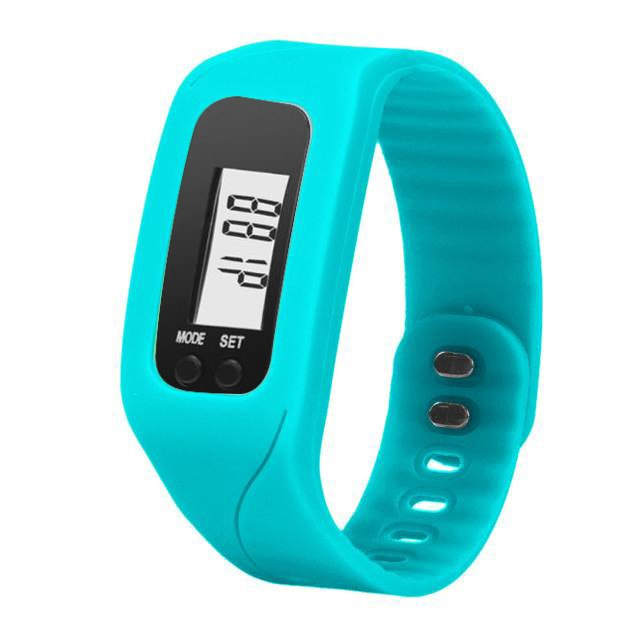 Costbuys  Digital LCD Wrist Watch For Men Women Pedometer Stop Watches Sports Wristband Run Step Distance Calorie Counter - Blue
