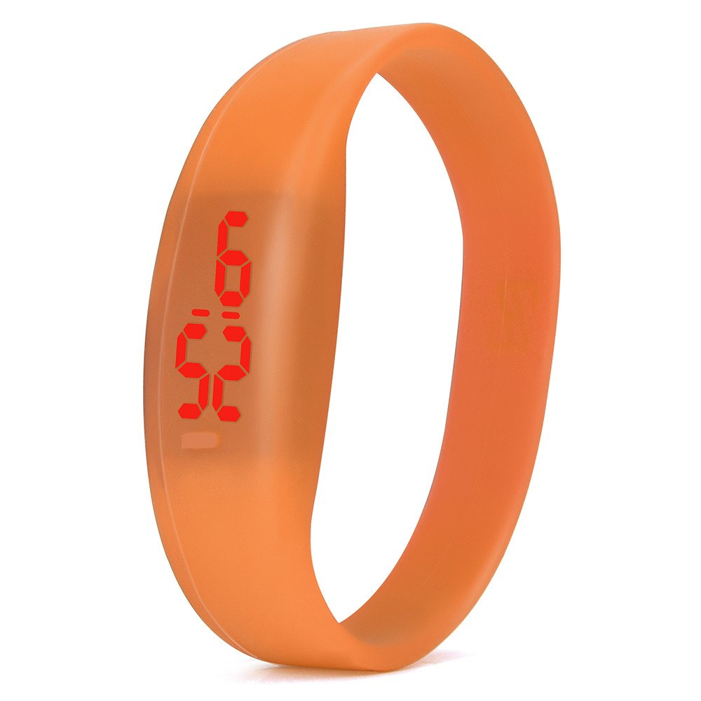 Costbuys  Digital wristwatches LED Sports Watch Unisex Watches Men Women Silicone Band Fashion round watches - Orange