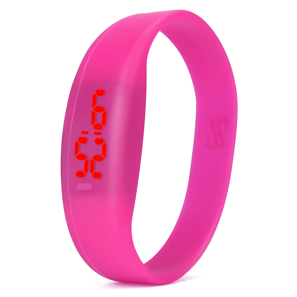 Costbuys  Digital wristwatches LED Sports Watch Unisex Watches Men Women Silicone Band Fashion round watches - Hot Pink