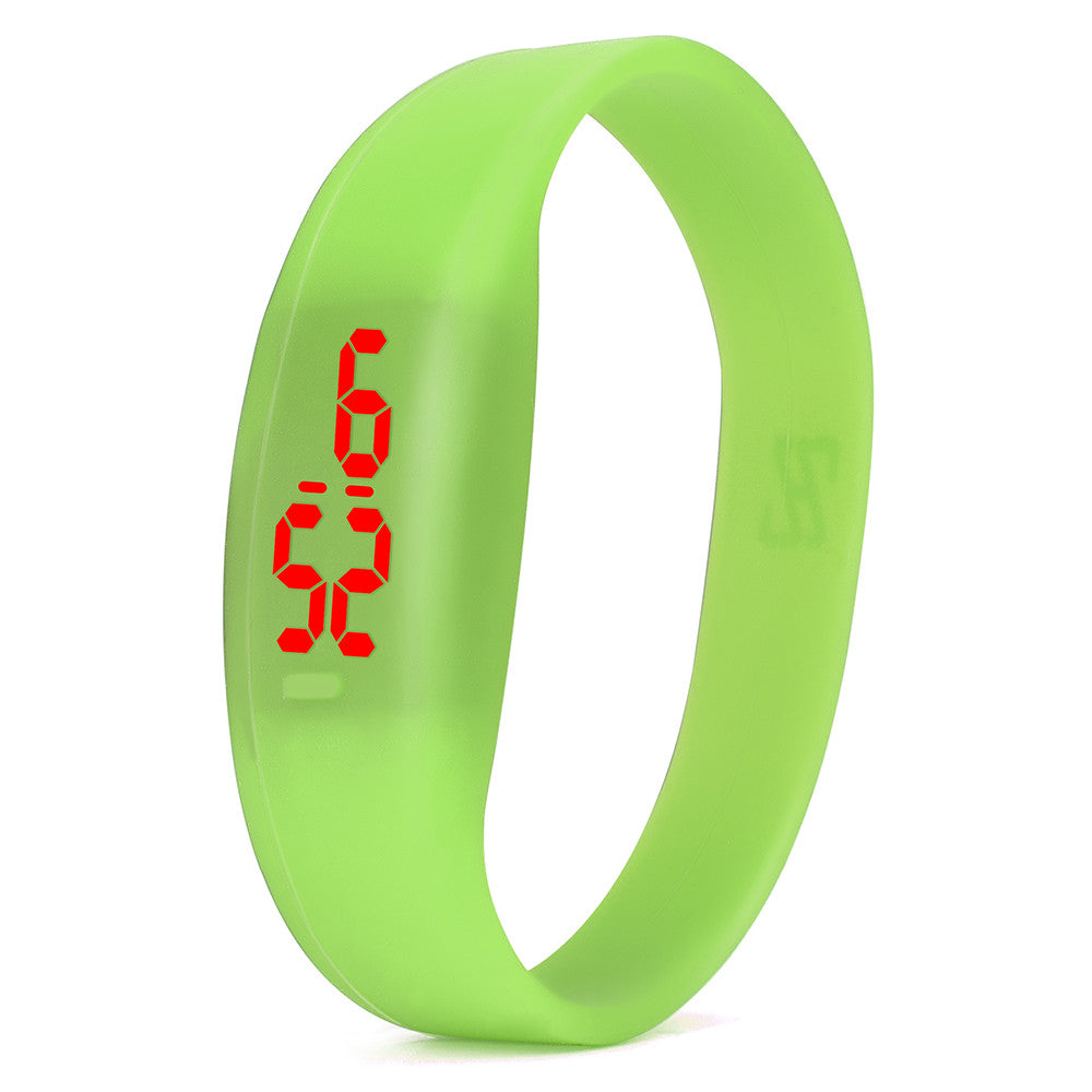 Costbuys  Digital wristwatches LED Sports Watch Unisex Watches Men Women Silicone Band Fashion round watches - Green
