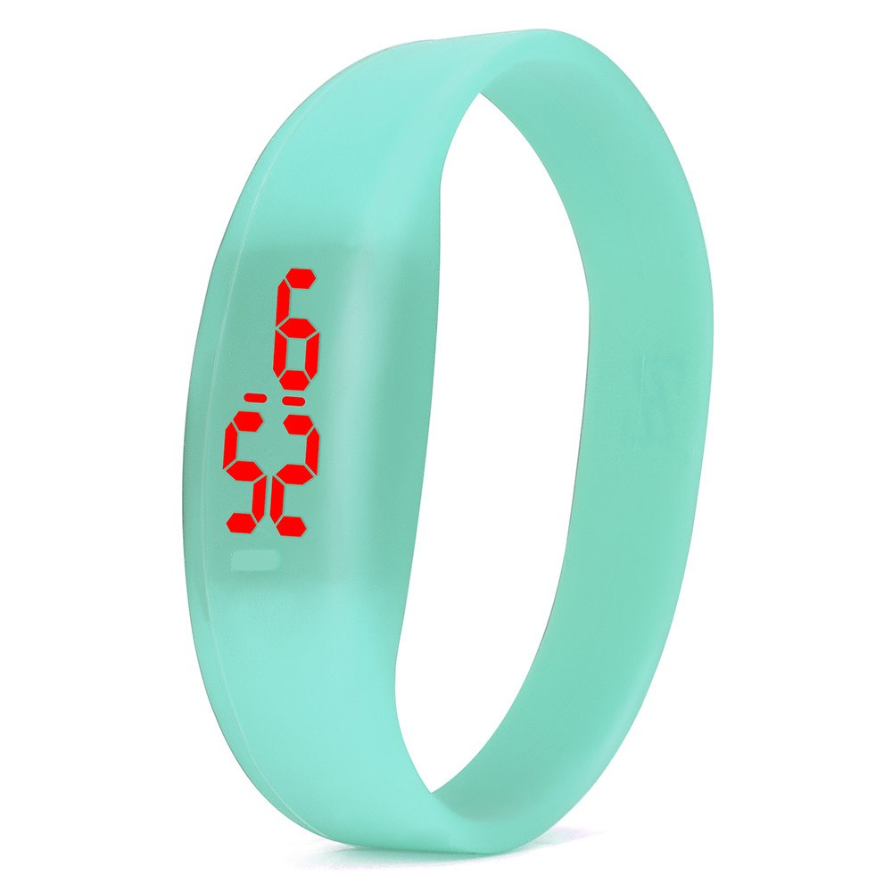 Costbuys  Digital wristwatches LED Sports Watch Unisex Watches Men Women Silicone Band Fashion round watches - Mint Green
