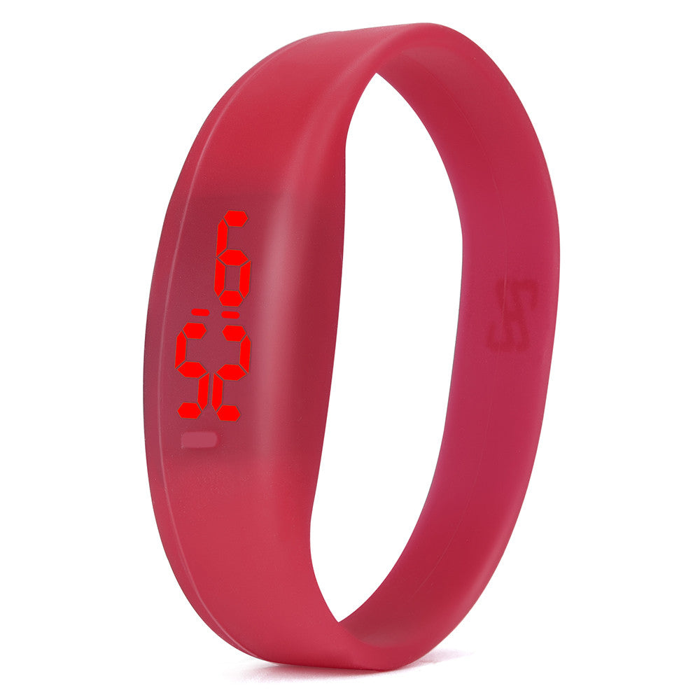 Costbuys  Digital wristwatches LED Sports Watch Unisex Watches Men Women Silicone Band Fashion round watches - Red